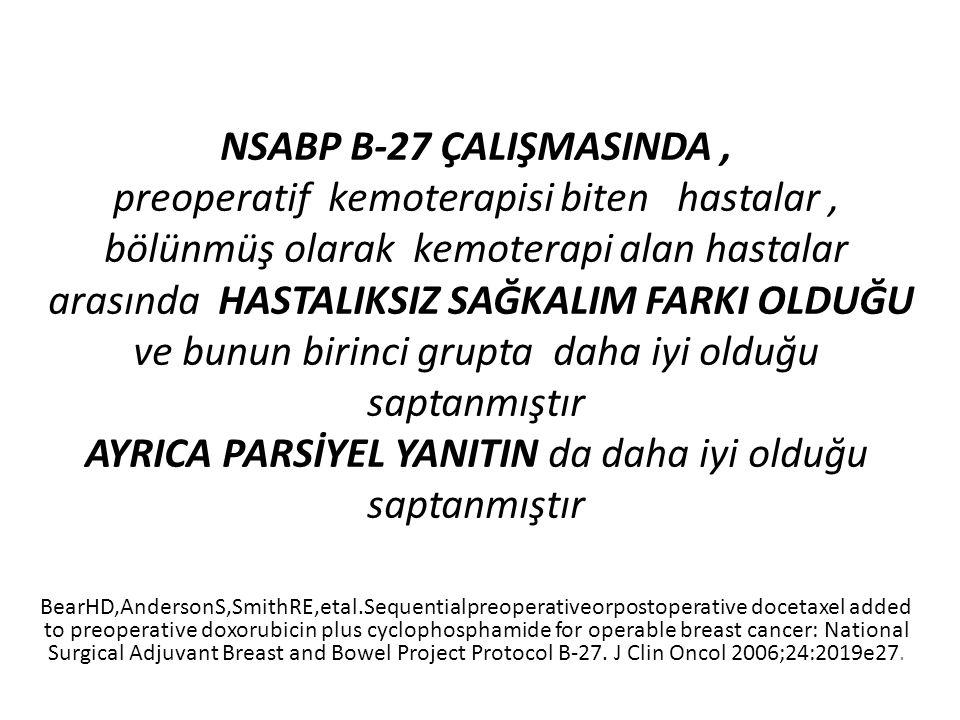 NSABP B-27 ÇALIŞMASINDA, preoperatif kemoterapisi biten hastalar, bölünmüş olarak kemoterapi alan hastalar arasında HASTALIKSIZ SAĞKALIM FARKI OLDUĞU