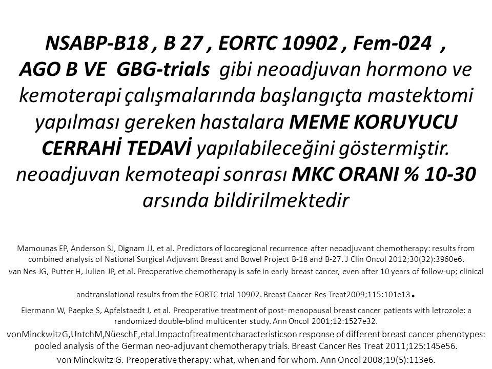 NSABP-B18, B 27, EORTC 10902, Fem-024, AGO B VE GBG-trials gibi neoadjuvan hormono ve kemoterapi çalışmalarında başlangıçta mastektomi yapılması gerek