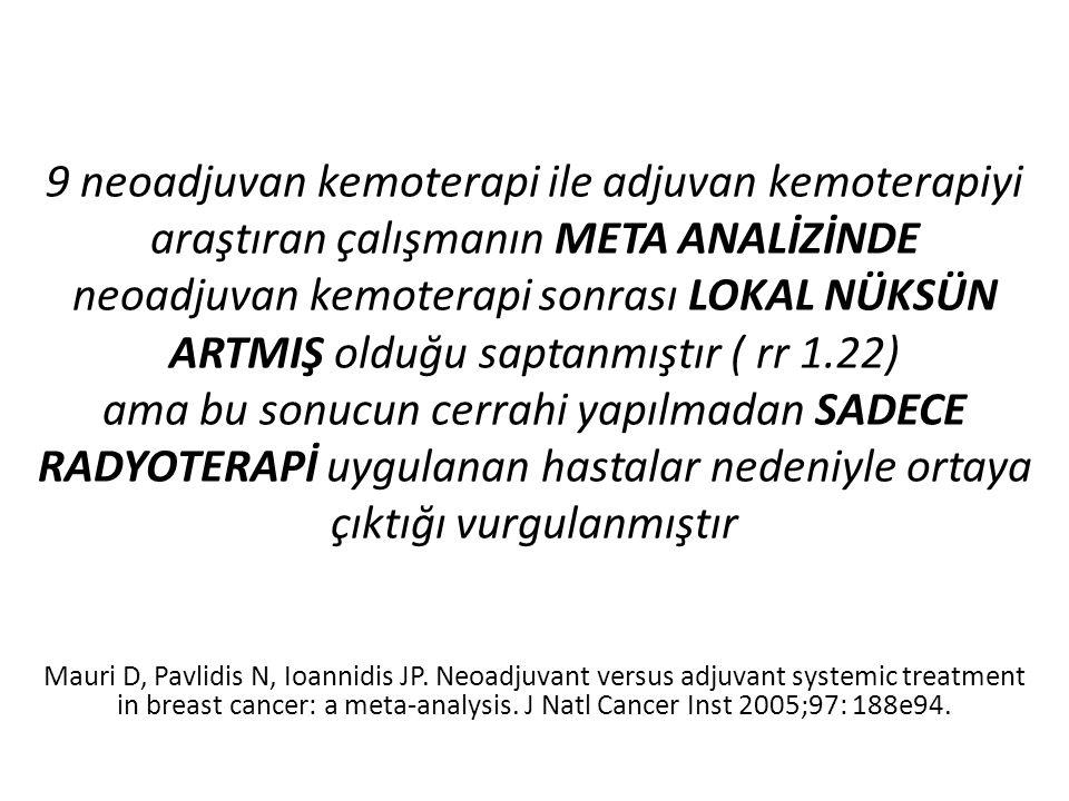 9 neoadjuvan kemoterapi ile adjuvan kemoterapiyi araştıran çalışmanın META ANALİZİNDE neoadjuvan kemoterapi sonrası LOKAL NÜKSÜN ARTMIŞ olduğu saptanm
