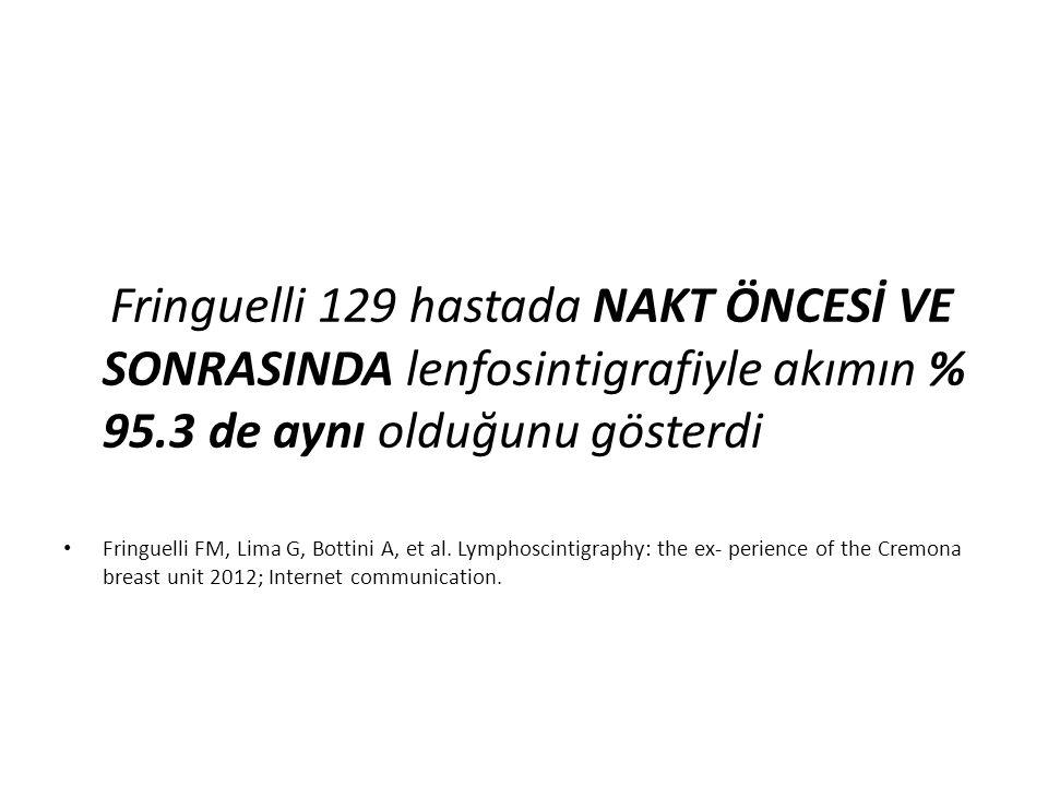 Fringuelli 129 hastada NAKT ÖNCESİ VE SONRASINDA lenfosintigrafiyle akımın % 95.3 de aynı olduğunu gösterdi Fringuelli FM, Lima G, Bottini A, et al. L