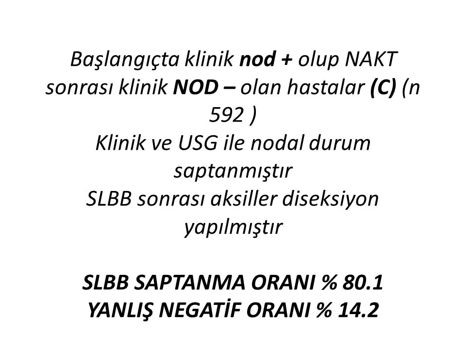 Başlangıçta klinik nod + olup NAKT sonrası klinik NOD – olan hastalar (C) (n 592 ) Klinik ve USG ile nodal durum saptanmıştır SLBB sonrası aksiller di