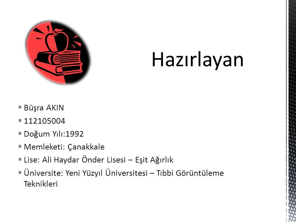  Büşra AKIN  112105004  Doğum Yılı:1992  Memleketi: Çanakkale  Lise: Ali Haydar Önder Lisesi – Eşit Ağırlık  Üniversite: Yeni Yüzyıl Üniversites