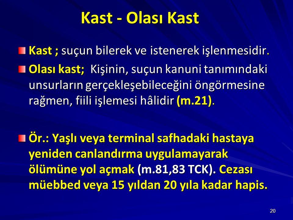 20 Kast - Olası Kast Kast ; suçun bilerek ve istenerek işlenmesidir.