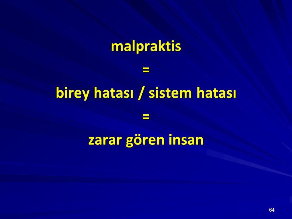 64 malpraktis= birey hatası / sistem hatası = zarar gören insan