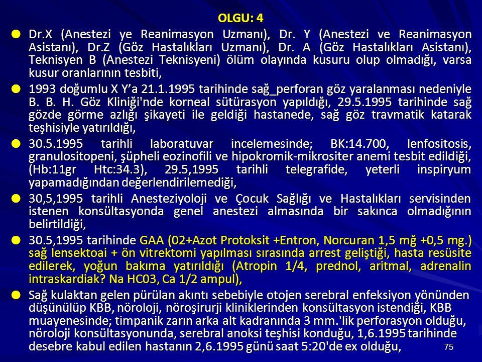 75 OLGU: 4  Dr.X (Anestezi ye Reanimasyon Uzmanı), Dr.