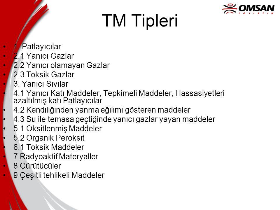 TM Tipleri 1. Patlayıcılar 2.1 Yanıcı Gazlar 2.2 Yanıcı olamayan Gazlar 2.3 Toksik Gazlar 3.