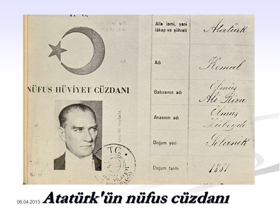 Atatürk ün nüfus cüzdanı 06.04.2015