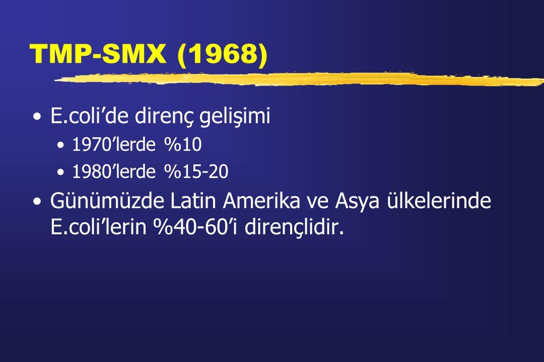 TMP-SMX (1968) E.coli'de direnç gelişimi 1970'lerde %10 1980'lerde %15-20 Günümüzde Latin Amerika ve Asya ülkelerinde E.coli'lerin %40-60'i dirençlidi
