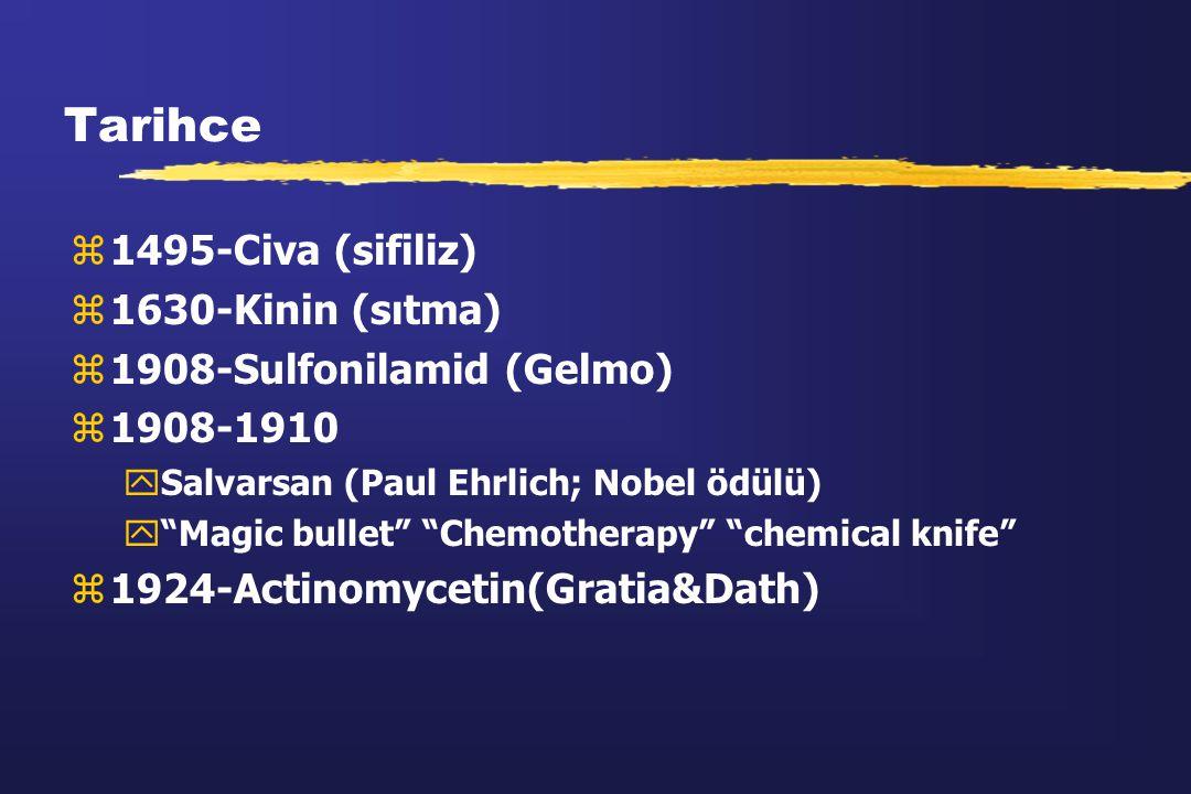 """Tarihce z1495-Civa (sifiliz) z1630-Kinin (sıtma) z1908-Sulfonilamid (Gelmo) z1908-1910 ySalvarsan (Paul Ehrlich; Nobel ödülü) y""""Magic bullet"""" """"Chemoth"""