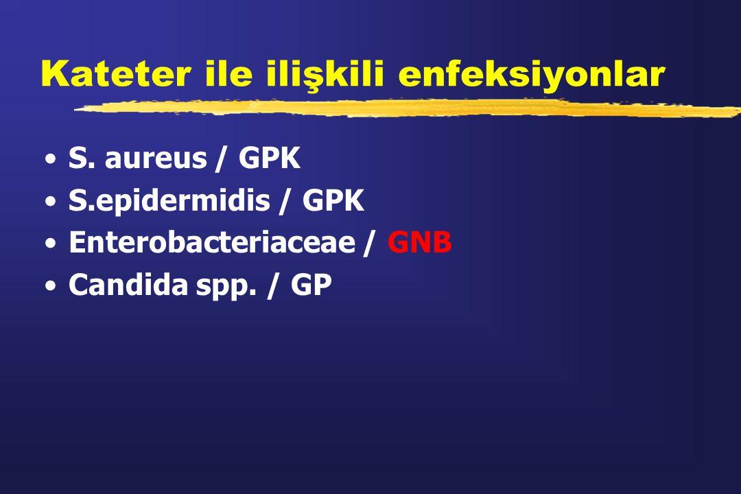 Kateter ile ilişkili enfeksiyonlar S. aureus / GPK S.epidermidis / GPK Enterobacteriaceae / GNB Candida spp. / GP