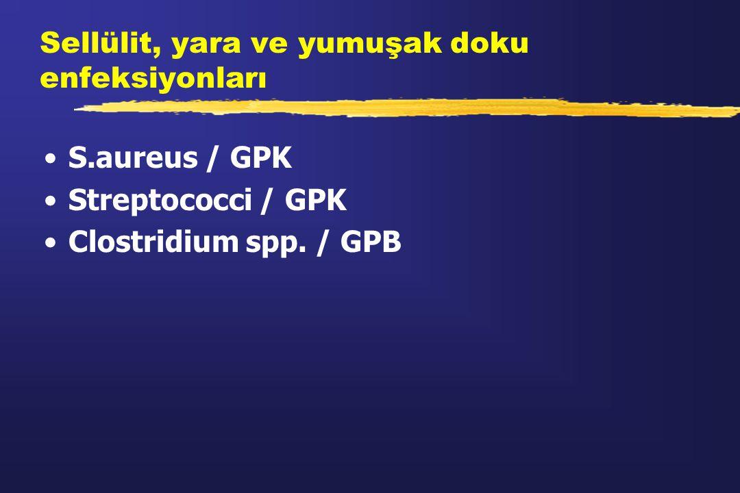 Sellülit, yara ve yumuşak doku enfeksiyonları S.aureus / GPK Streptococci / GPK Clostridium spp. / GPB