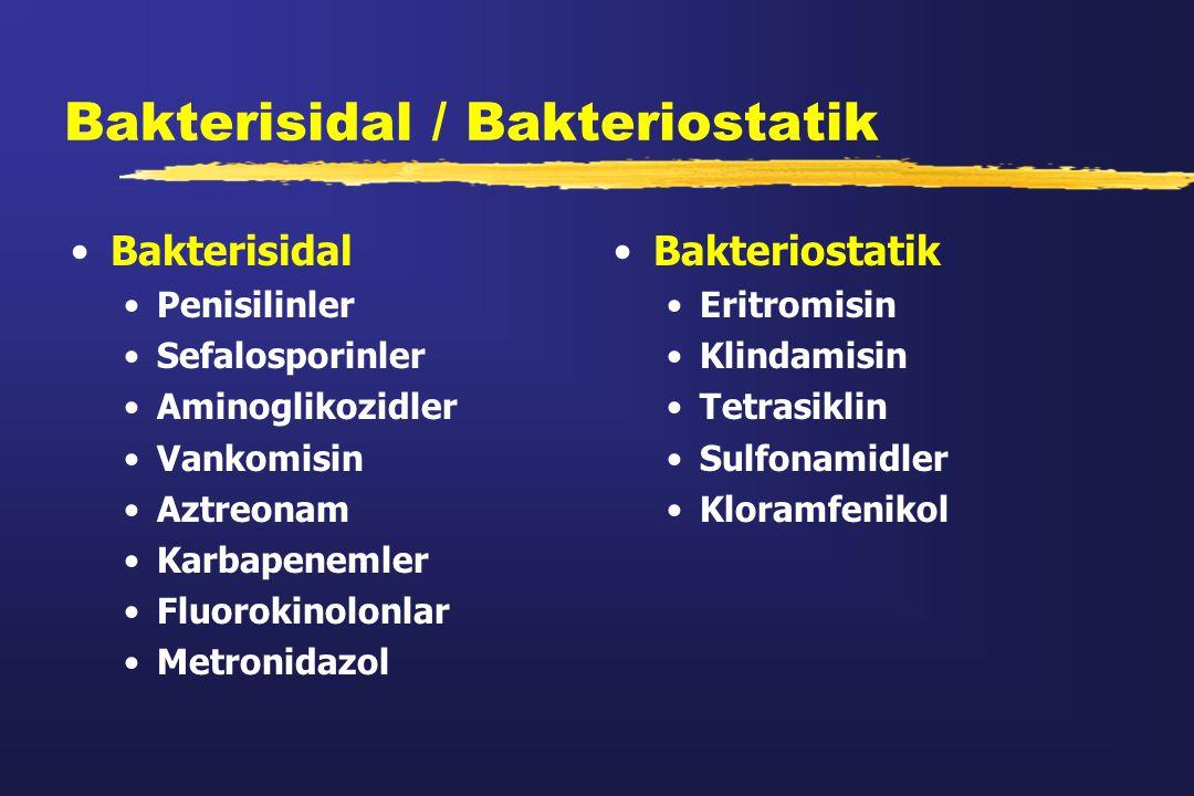 Bakterisidal / Bakteriostatik Bakterisidal Penisilinler Sefalosporinler Aminoglikozidler Vankomisin Aztreonam Karbapenemler Fluorokinolonlar Metronida