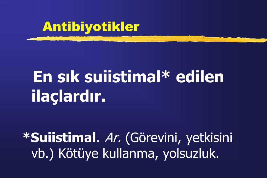 Antibiyotikler En sık suiistimal* edilen ilaçlardır. *Suiistimal. Ar. (Görevini, yetkisini vb.) Kötüye kullanma, yolsuzluk.