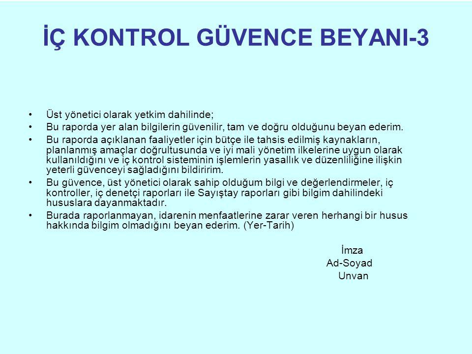 İÇ KONTROL GÜVENCE BEYANI-3 Üst yönetici olarak yetkim dahilinde; Bu raporda yer alan bilgilerin güvenilir, tam ve doğru olduğunu beyan ederim.