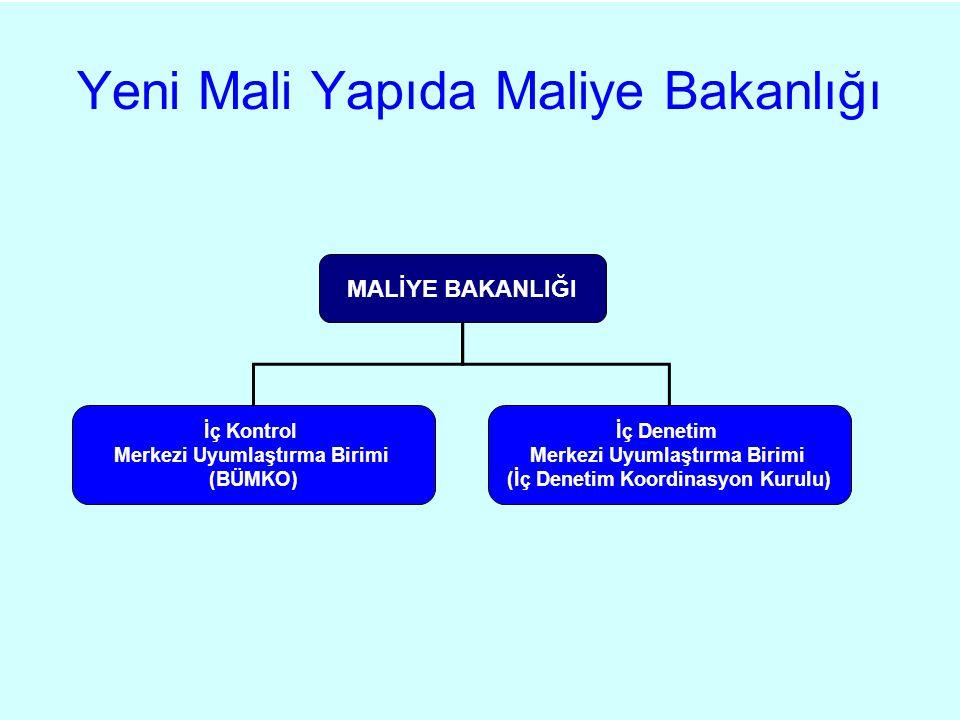 Yeni Mali Yapıda Maliye Bakanlığı MALİYE BAKANLIĞI İç Denetim Merkezi Uyumlaştırma Birimi (İç Denetim Koordinasyon Kurulu) İç Kontrol Merkezi Uyumlaştırma Birimi (BÜMKO)