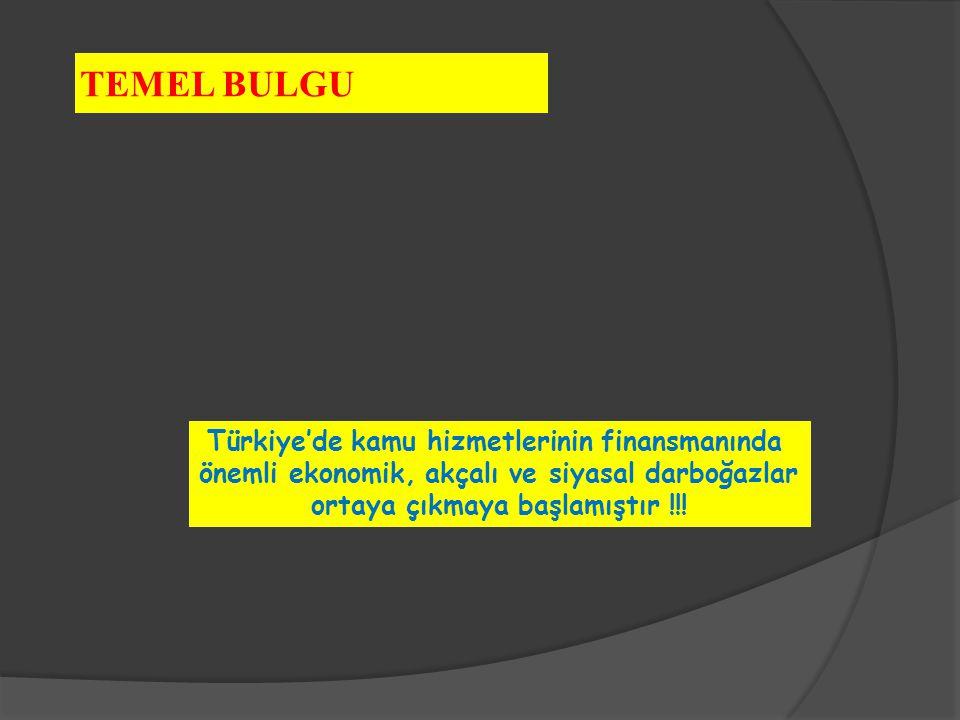 Türkiye'de kamu hizmetlerinin finansmanında önemli ekonomik, akçalı ve siyasal darboğazlar ortaya çıkmaya başlamıştır !!! TEMEL BULGU