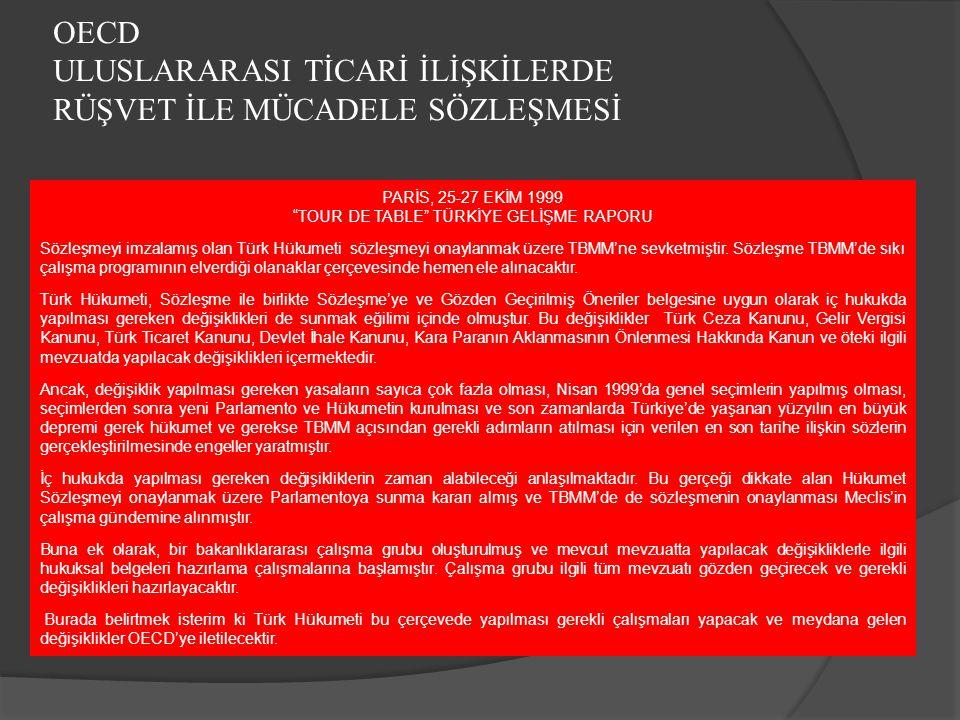 """OECD ULUSLARARASI TİCARİ İLİŞKİLERDE RÜŞVET İLE MÜCADELE SÖZLEŞMESİ PARİS, 25-27 EKİM 1999 """"TOUR DE TABLE"""" TÜRKİYE GELİŞME RAPORU Sözleşmeyi imzalamış"""