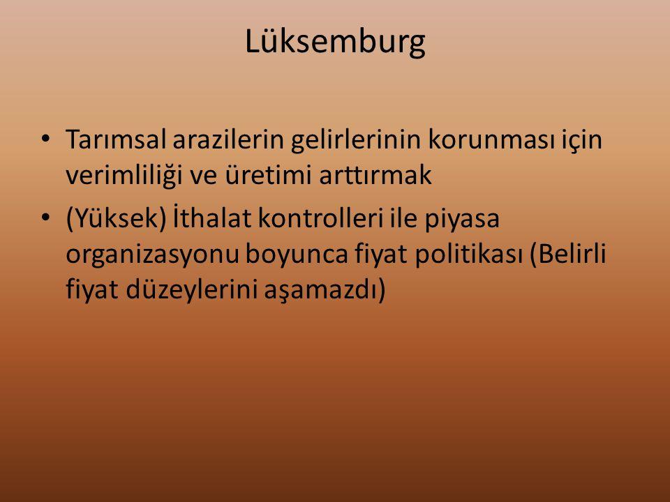 Lüksemburg Tarımsal arazilerin gelirlerinin korunması için verimliliği ve üretimi arttırmak (Yüksek) İthalat kontrolleri ile piyasa organizasyonu boyu