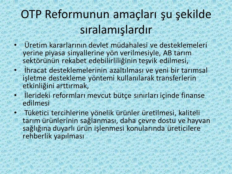 OTP Reformunun amaçları şu şekilde sıralamışlardır Üretim kararlarının devlet müdahalesi ve desteklemeleri yerine piyasa sinyallerine yön verilmesiyle