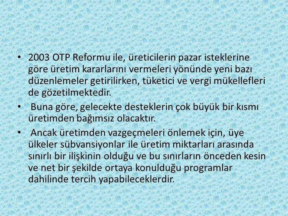 2003 OTP Reformu ile, üreticilerin pazar isteklerine göre üretim kararlarını vermeleri yönünde yeni bazı düzenlemeler getirilirken, tüketici ve vergi