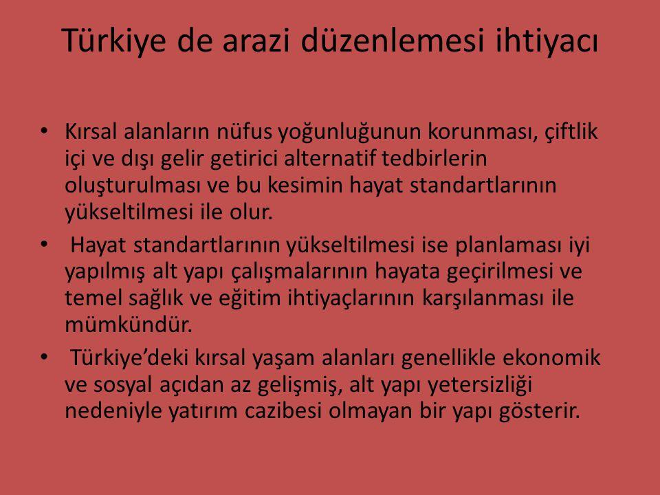 Türkiye de arazi düzenlemesi ihtiyacı Kırsal alanların nüfus yoğunluğunun korunması, çiftlik içi ve dışı gelir getirici alternatif tedbirlerin oluştur