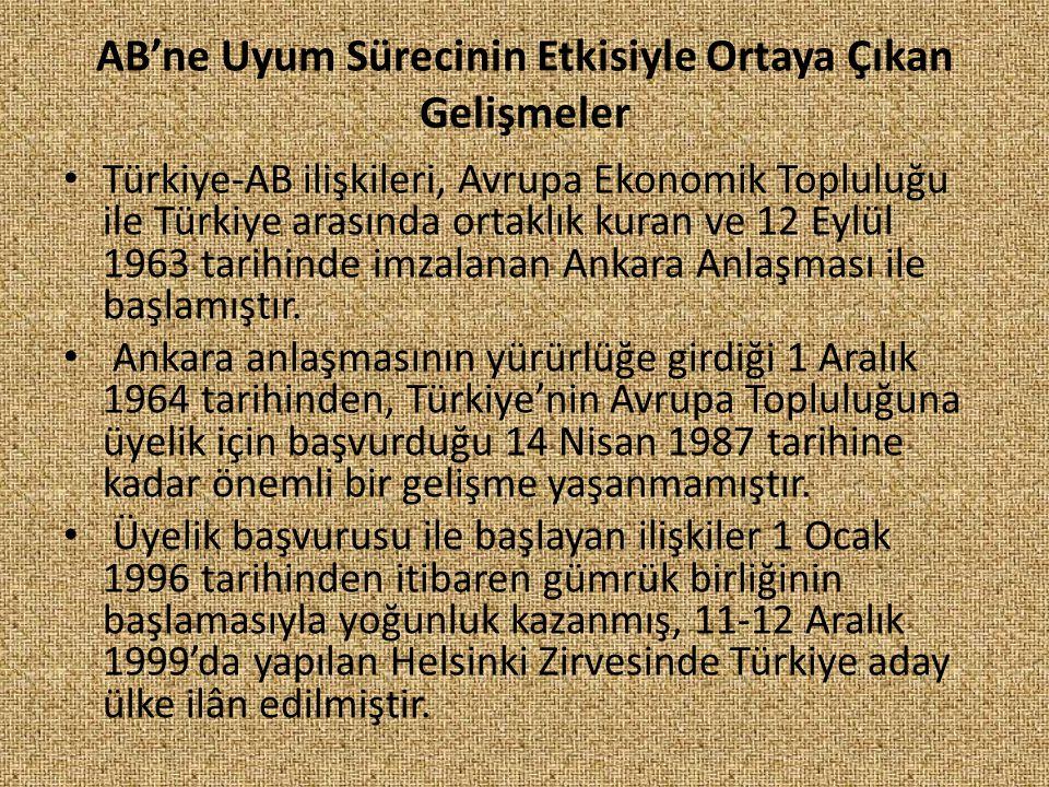 AB'ne Uyum Sürecinin Etkisiyle Ortaya Çıkan Gelişmeler Türkiye-AB ilişkileri, Avrupa Ekonomik Topluluğu ile Türkiye arasında ortaklık kuran ve 12 Eylü