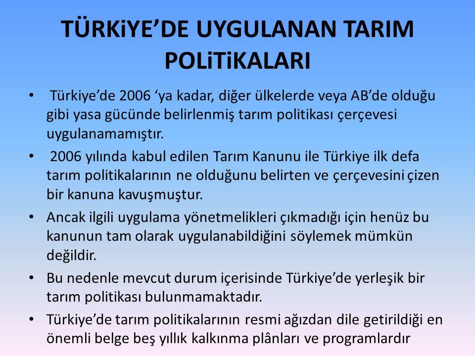 TÜRKiYE'DE UYGULANAN TARIM POLiTiKALARI Türkiye'de 2006 'ya kadar, diğer ülkelerde veya AB'de olduğu gibi yasa gücünde belirlenmiş tarım politikası çe