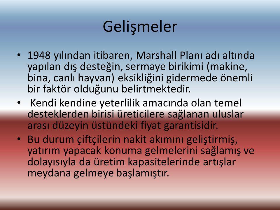 Gelişmeler 1948 yılından itibaren, Marshall Planı adı altında yapılan dış desteğin, sermaye birikimi (makine, bina, canlı hayvan) eksikliğini gidermed