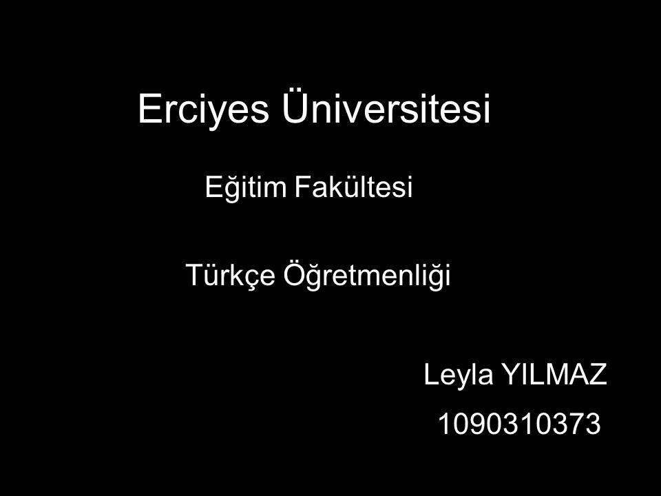 Erciyes Üniversitesi Eğitim Fakültesi Türkçe Öğretmenliği Leyla YILMAZ 1090310373