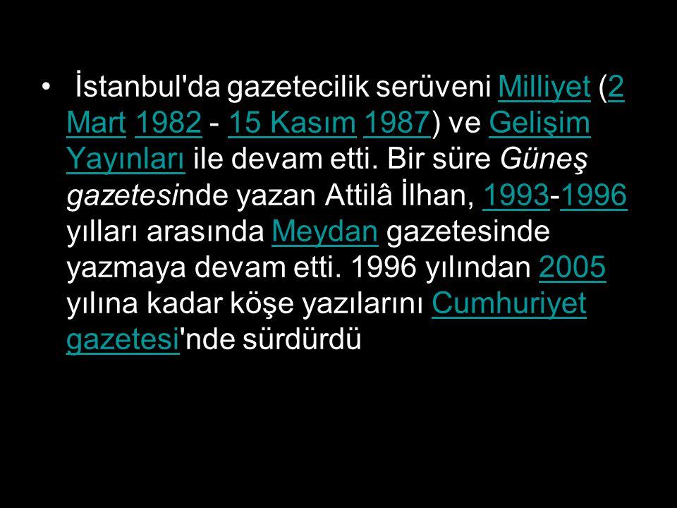 İstanbul'da gazetecilik serüveni Milliyet (2 Mart 1982 - 15 Kasım 1987) ve Gelişim Yayınları ile devam etti. Bir süre Güneş gazetesinde yazan Attilâ İ