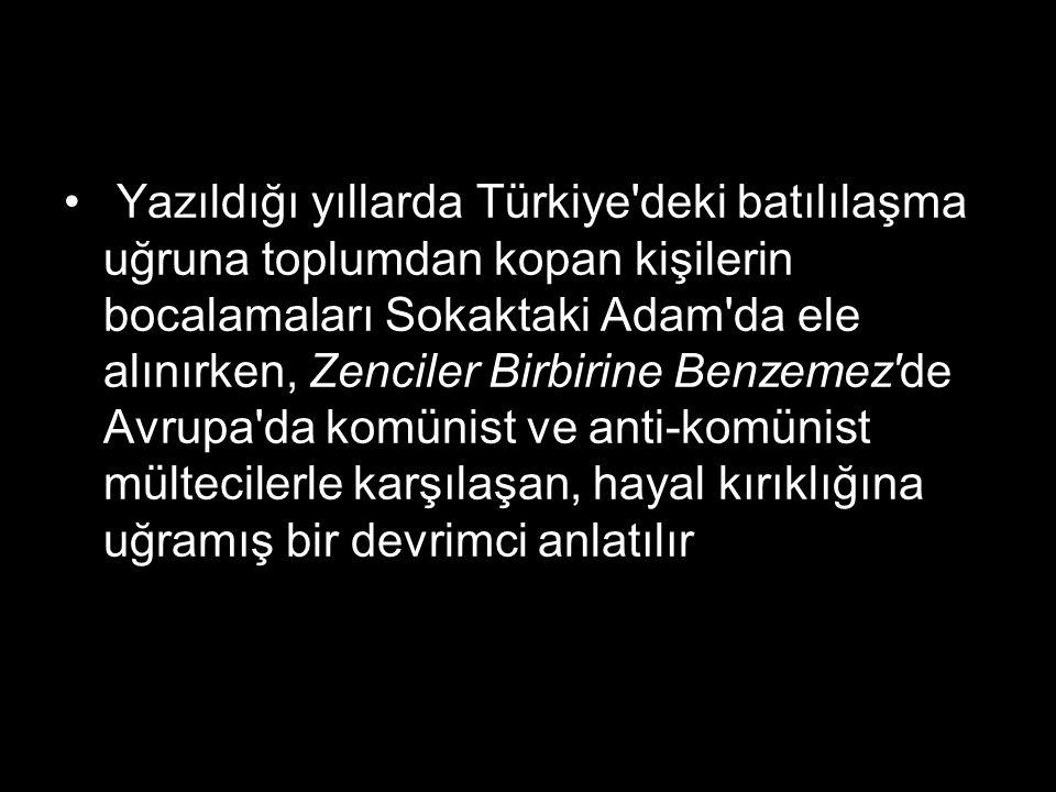 Yazıldığı yıllarda Türkiye'deki batılılaşma uğruna toplumdan kopan kişilerin bocalamaları Sokaktaki Adam'da ele alınırken, Zenciler Birbirine Benzemez