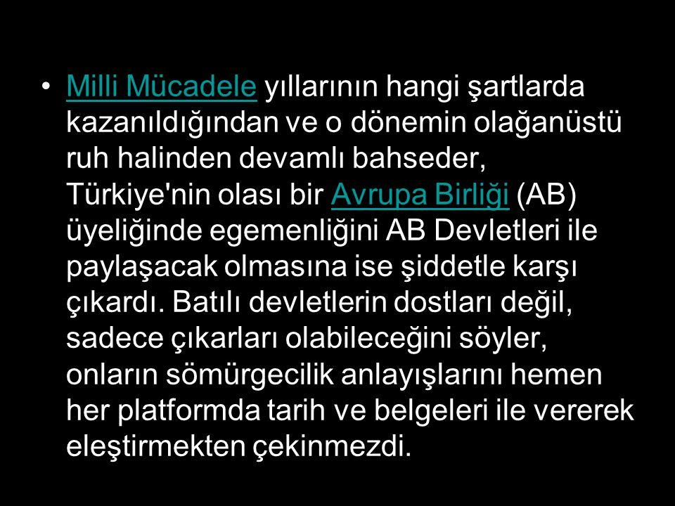 Milli Mücadele yıllarının hangi şartlarda kazanıldığından ve o dönemin olağanüstü ruh halinden devamlı bahseder, Türkiye'nin olası bir Avrupa Birliği