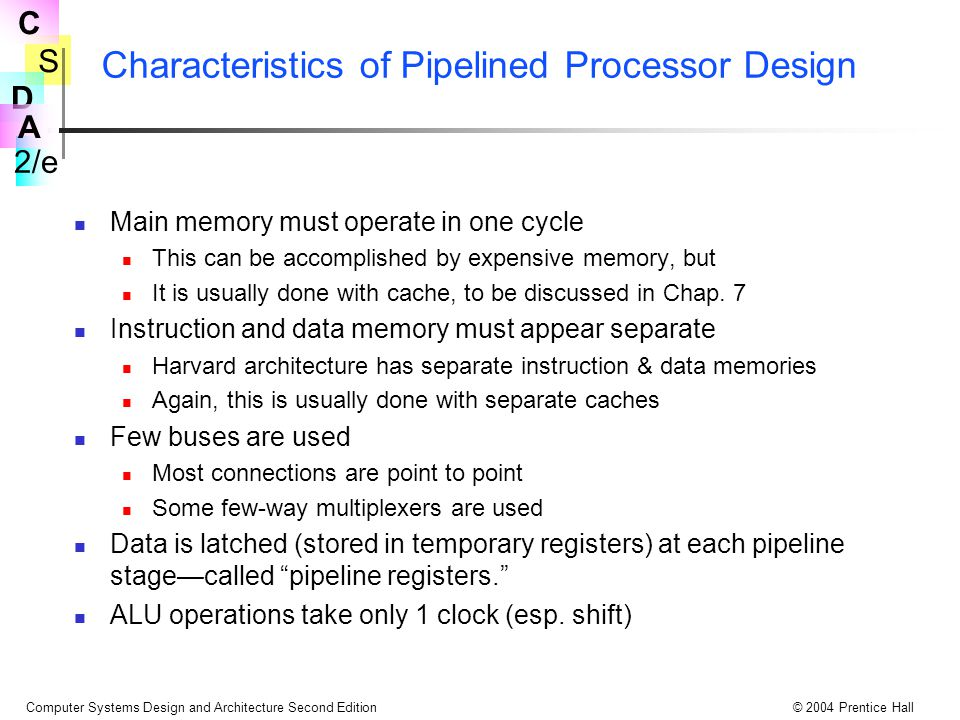 S 2/e C D A Computer Systems Design and Architecture Second Edition© 2004 Prentice Hall Characteristics of Pipelined Processor Design Main memory must