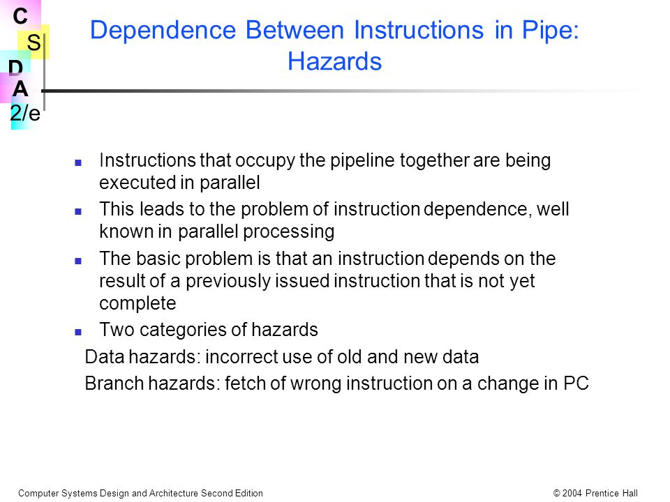 S 2/e C D A Computer Systems Design and Architecture Second Edition© 2004 Prentice Hall Dependence Between Instructions in Pipe: Hazards Instructions