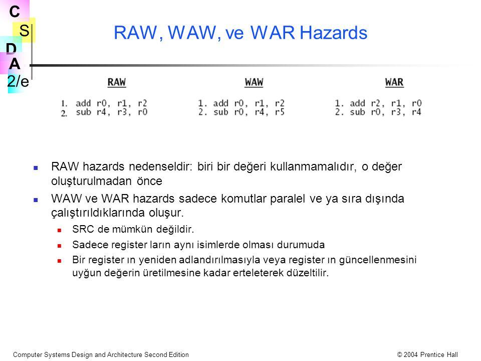 S 2/e C D A Computer Systems Design and Architecture Second Edition© 2004 Prentice Hall RAW, WAW, ve WAR Hazards RAW hazards nedenseldir: biri bir değ