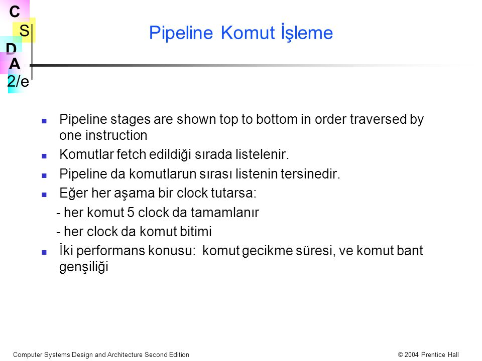 S 2/e C D A Computer Systems Design and Architecture Second Edition© 2004 Prentice Hall Pipeline Komut İşleme Pipeline stages are shown top to bottom