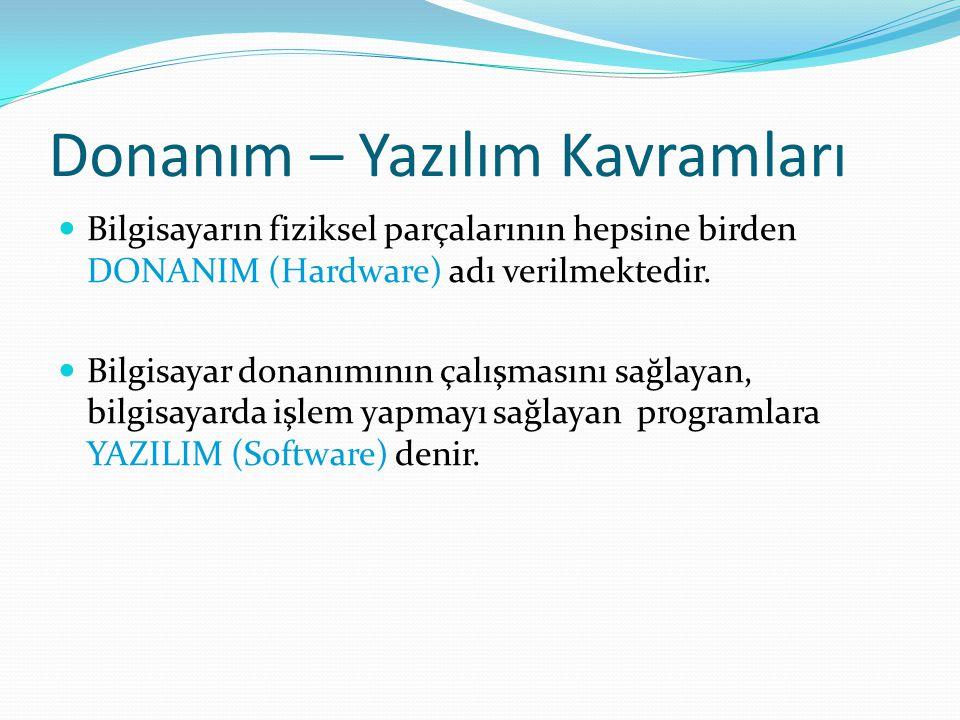 Donanım – Yazılım Kavramları Bilgisayarın fiziksel parçalarının hepsine birden DONANIM (Hardware) adı verilmektedir.