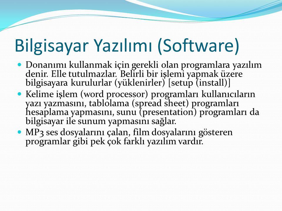 Bilgisayar Yazılımı (Software) Donanımı kullanmak için gerekli olan programlara yazılım denir.