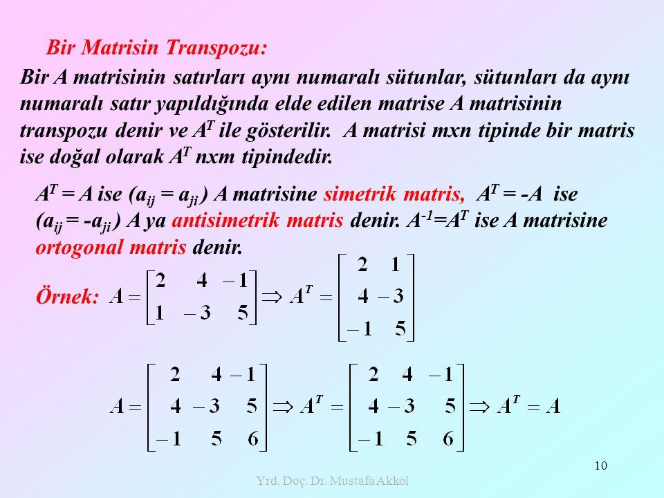 Yrd. Doç. Dr. Mustafa Akkol 10 Bir Matrisin Transpozu: Bir A matrisinin satırları aynı numaralı sütunlar, sütunları da aynı numaralı satır yapıldığınd