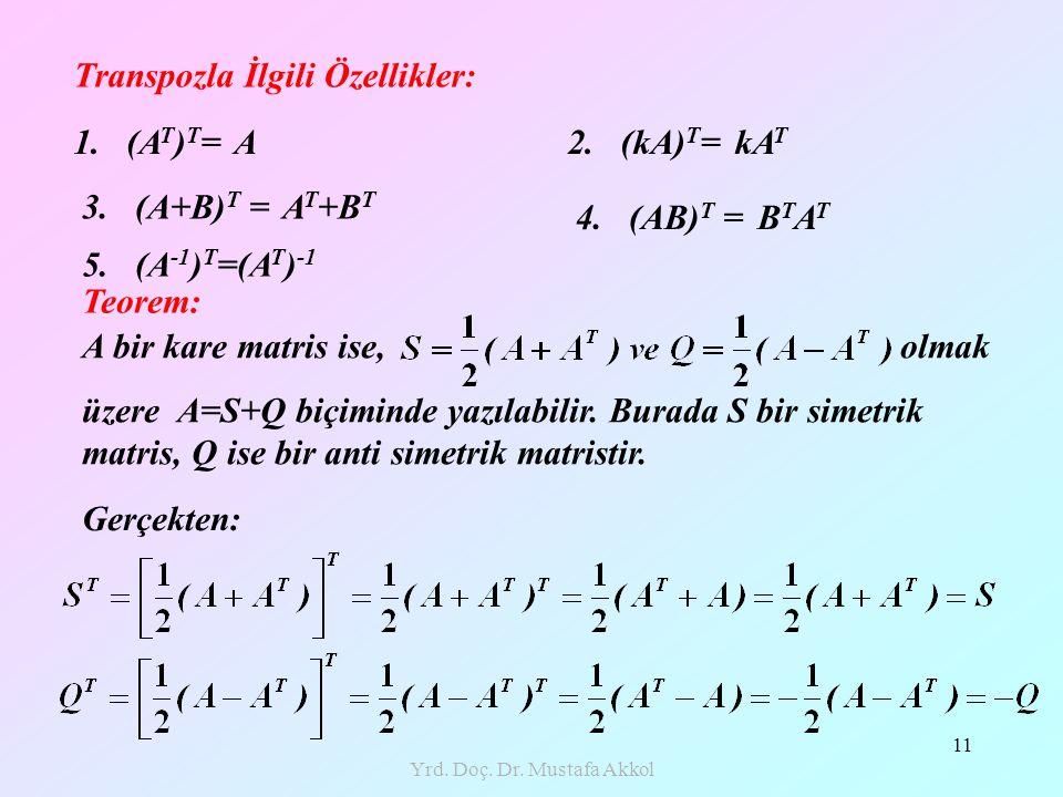 Yrd. Doç. Dr. Mustafa Akkol 11 Transpozla İlgili Özellikler: 1. (A T ) T = A Teorem: A bir kare matris ise, olmak üzere A=S+Q biçiminde yazılabilir. B