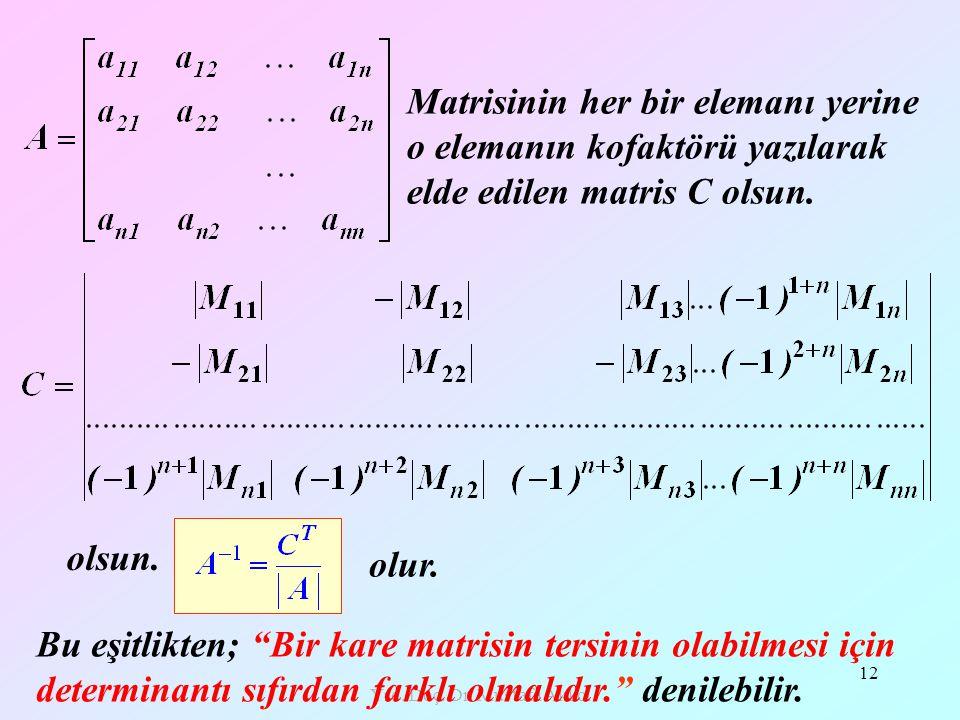 Yrd. Doç. Dr. Mustafa Akkol 12 olsun. Matrisinin her bir elemanı yerine o elemanın kofaktörü yazılarak elde edilen matris C olsun. olur. Bu eşitlikten