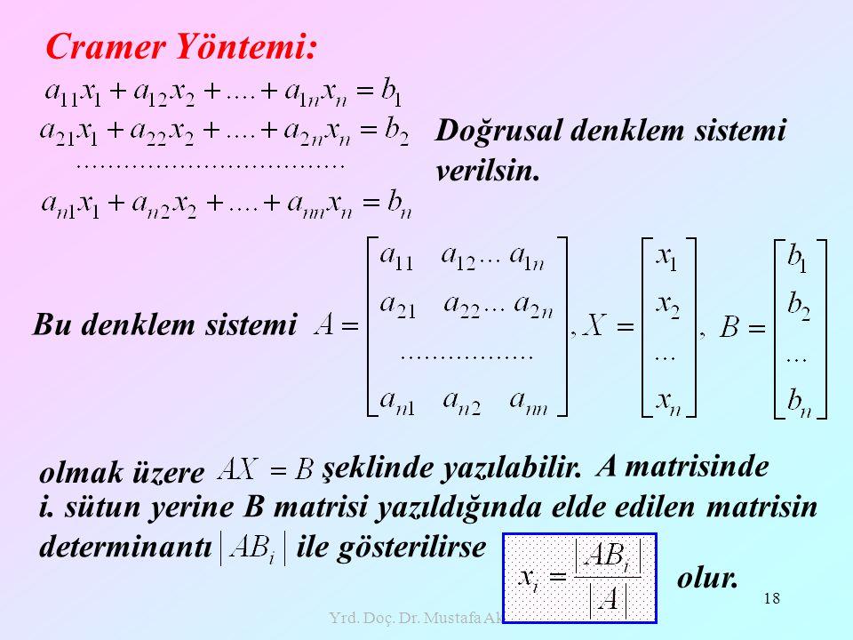 Yrd. Doç. Dr. Mustafa Akkol 18 Cramer Yöntemi: Doğrusal denklem sistemi verilsin. Bu denklem sistemi olmak üzere şeklinde yazılabilir. A matrisinde i.