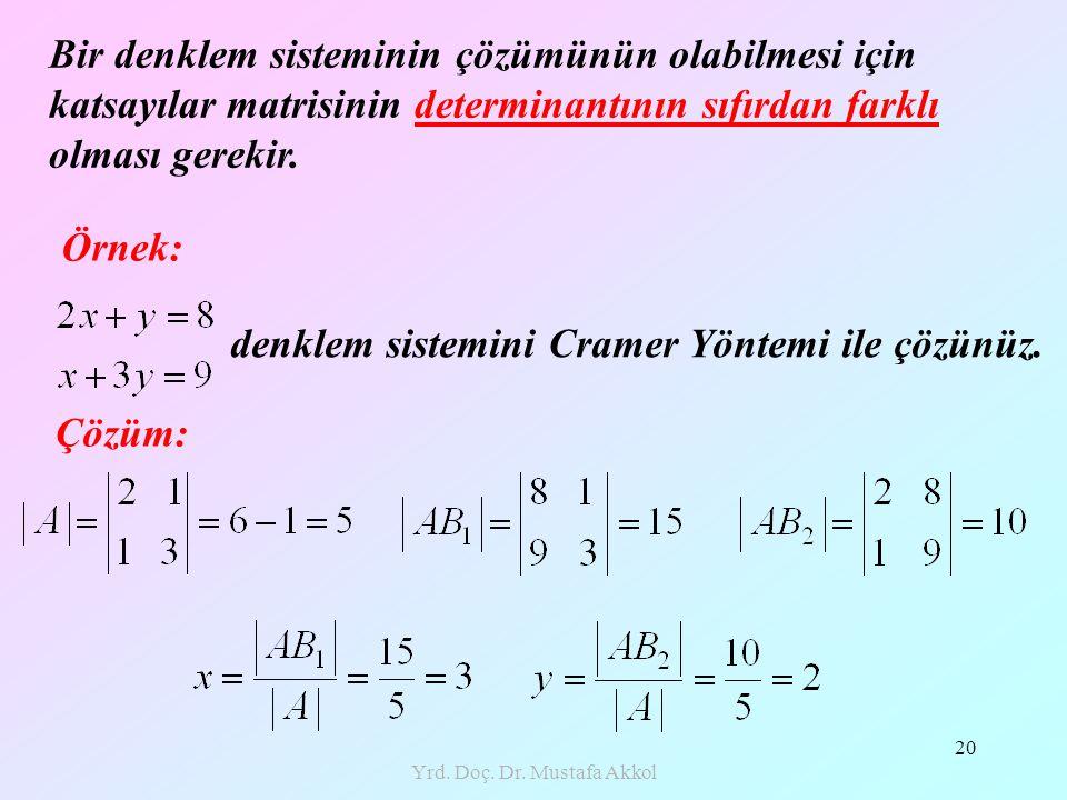 Yrd. Doç. Dr. Mustafa Akkol 20 Örnek: denklem sistemini Cramer Yöntemi ile çözünüz. Çözüm: Bir denklem sisteminin çözümünün olabilmesi için katsayılar