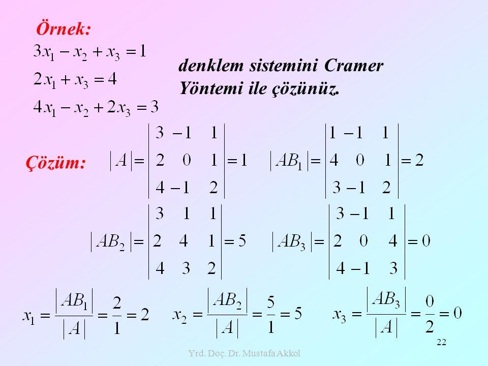 Yrd. Doç. Dr. Mustafa Akkol 22 Örnek: denklem sistemini Cramer Yöntemi ile çözünüz. Çözüm: