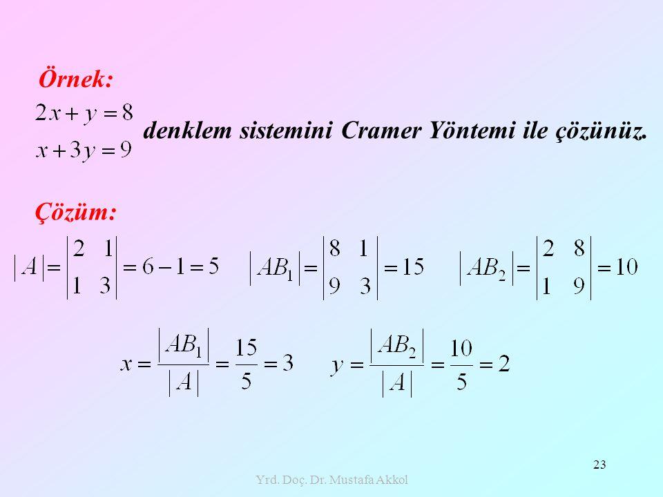 Yrd. Doç. Dr. Mustafa Akkol 23 Örnek: denklem sistemini Cramer Yöntemi ile çözünüz. Çözüm: