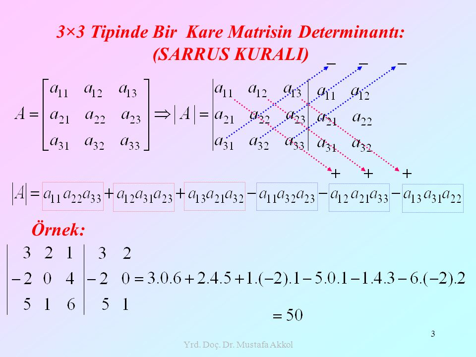 Yrd. Doç. Dr. Mustafa Akkol 3 3×3 Tipinde Bir Kare Matrisin Determinantı: (SARRUS KURALI) Örnek: