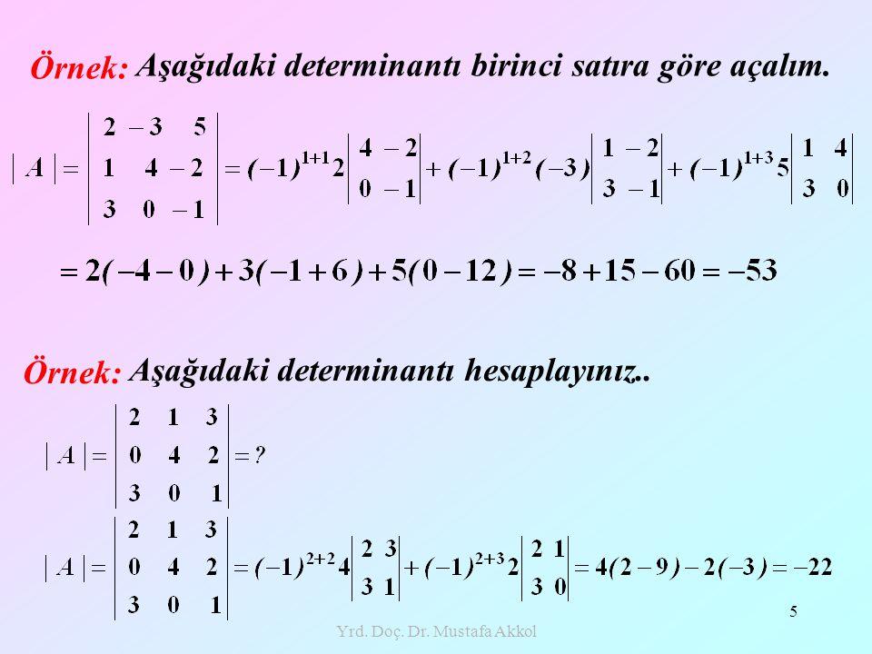 Yrd. Doç. Dr. Mustafa Akkol 5 Örnek: Aşağıdaki determinantı birinci satıra göre açalım. Örnek: Aşağıdaki determinantı hesaplayınız..