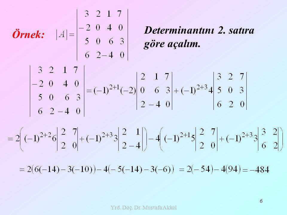 Yrd. Doç. Dr. Mustafa Akkol 6 Örnek: Determinantını 2. satıra göre açalım.