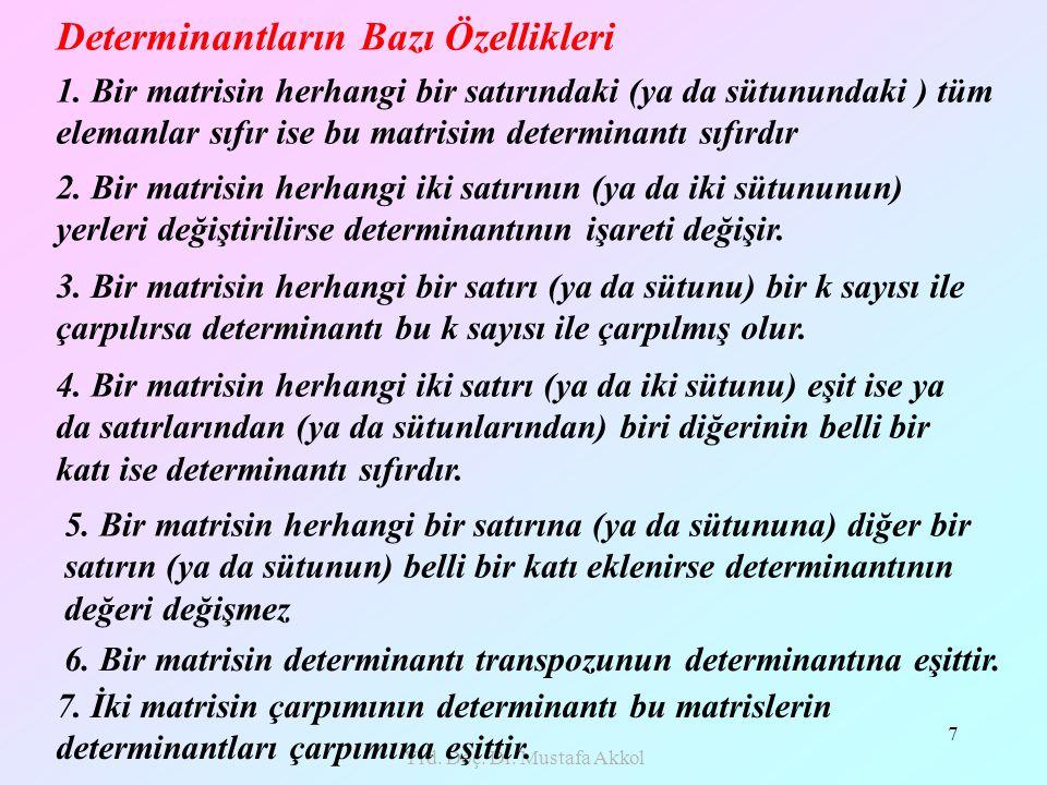 Yrd. Doç. Dr. Mustafa Akkol 7 Determinantların Bazı Özellikleri 1. Bir matrisin herhangi bir satırındaki (ya da sütunundaki ) tüm elemanlar sıfır ise