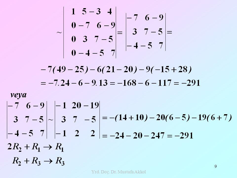 Yrd.Doç. Dr. Mustafa Akkol 20 Örnek: denklem sistemini Cramer Yöntemi ile çözünüz.